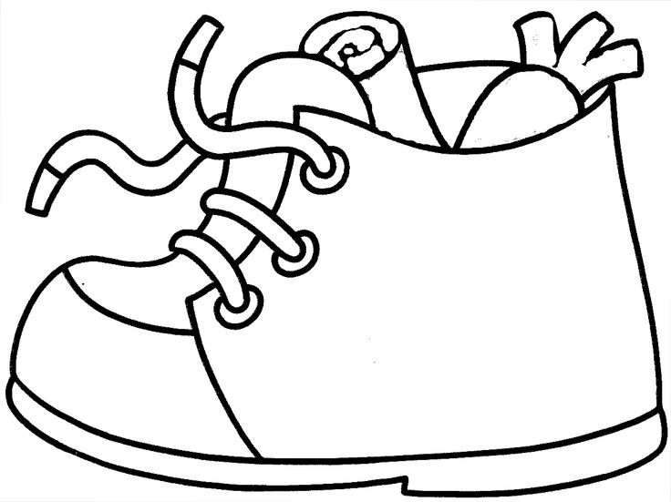 Eenvoudige schoen zetten kleurplaat