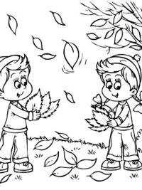 kleurplaten herfstbladeren kleurplaten dieren