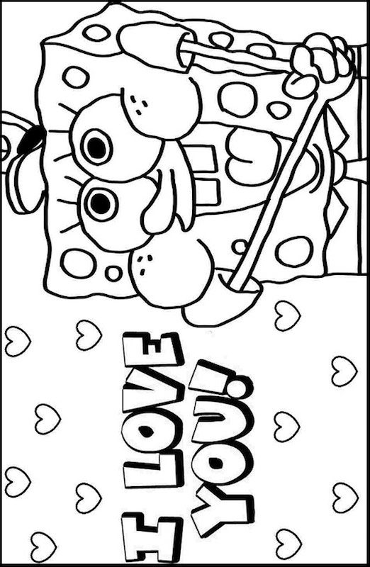 spongebob kleurplaat verjaardag