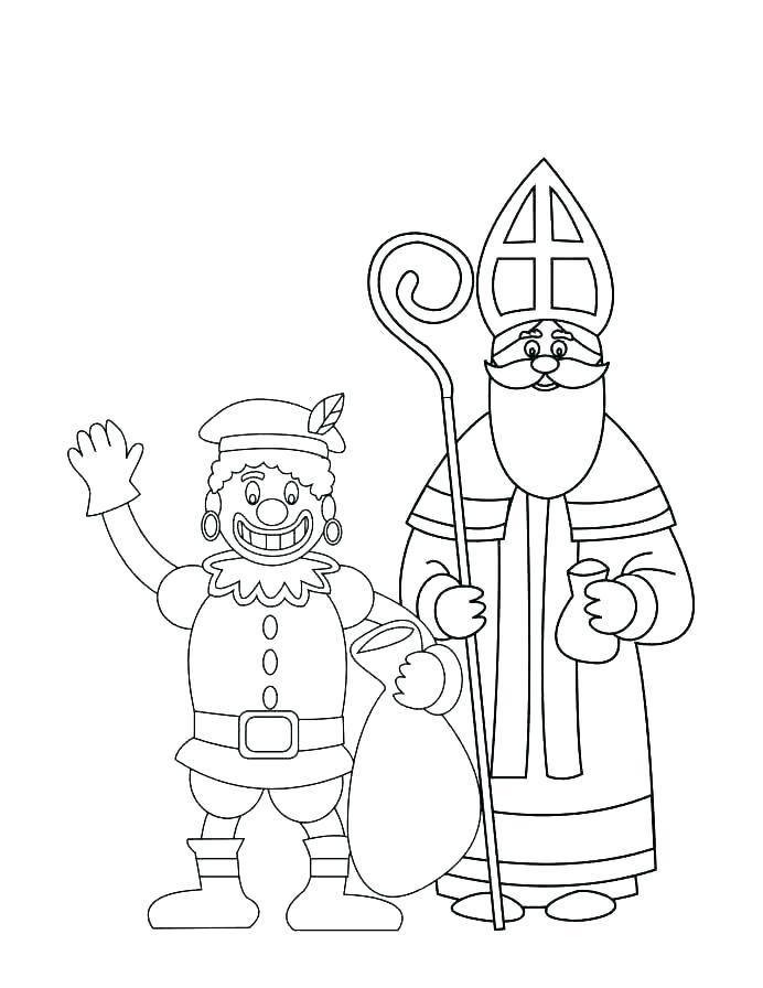 Makkelijke Sinterklaas kleurplaat