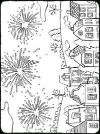 Kleurplaten Gelukkig Nieuwjaar.Vuurwerk Kleurplaten Topkleurplaat Nl