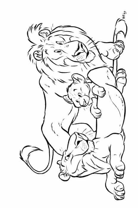 kleurplaat-leeuwengezin