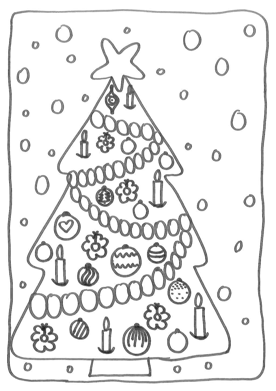 kerstboom om in te kleuren